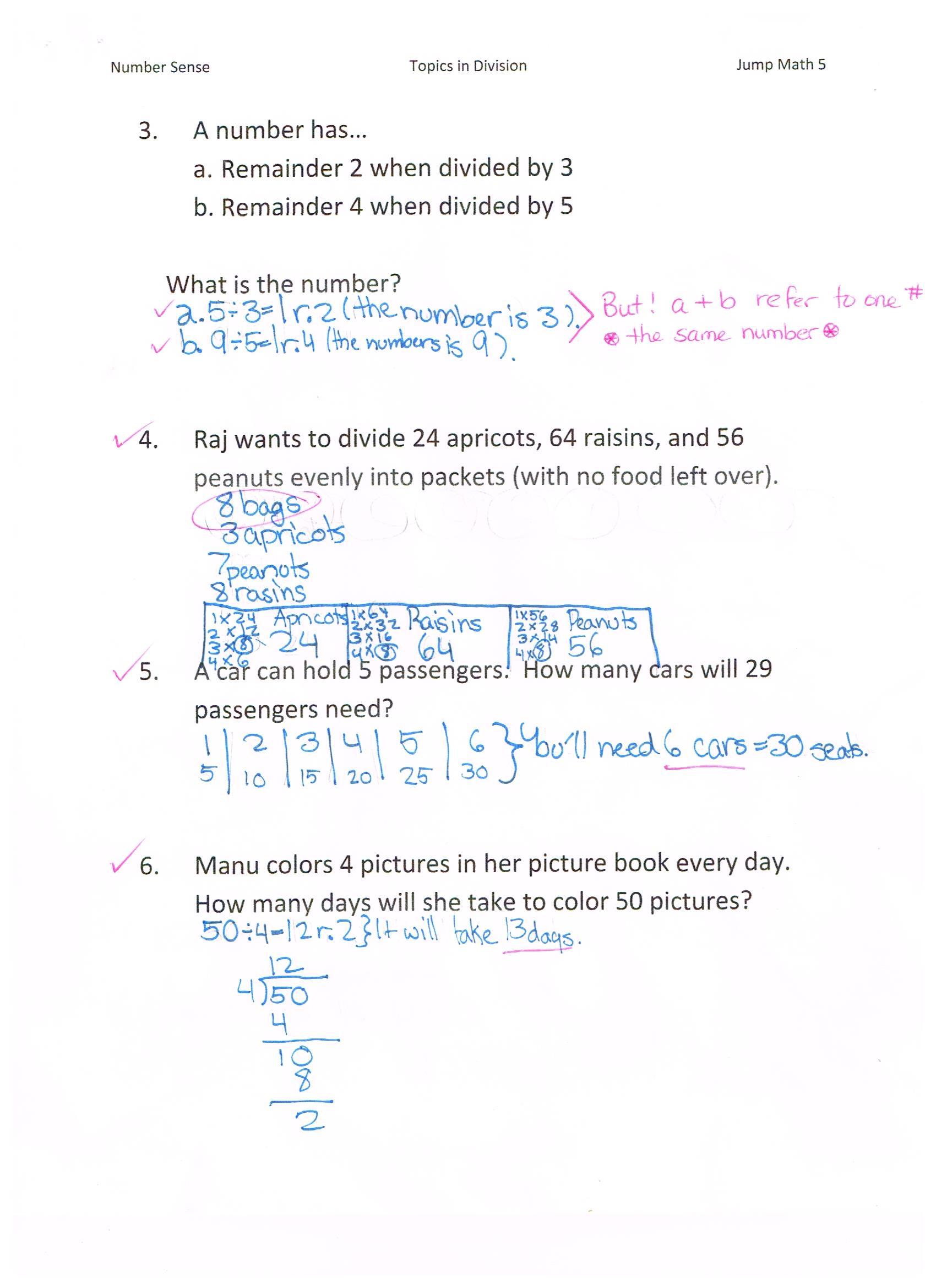 Jump Math 51 Number Sense Division Page 99 Jessicas School